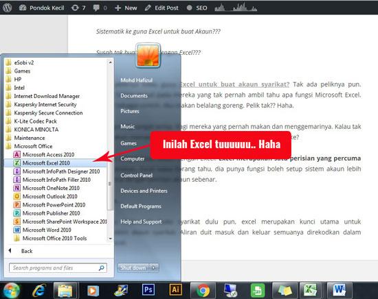Guna Excel Buat Akaun Syarikat